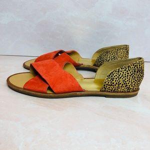 Dolce Vita Rust and Cheetah Print Sandals 6